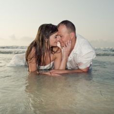 """Is there any more romantic way to trash your dress other then the beach? Take a peek and see for yourself. -always thought about jumping in the ocean after saying """"I Do"""""""
