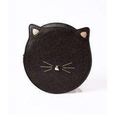 Unique Vintage Black Leatherette Circle Cat Face Shoulder Bag ($48) ❤ liked on Polyvore featuring bags, handbags, shoulder bags, multicolor, vintage hand bags, man bag, vintage handbags, shoulder handbags and glitter handbag