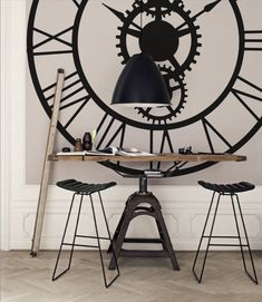 "Based on the giant clock at the Musee d'Orsay in Paris, our interpretation doesn't require a passport. This design ranges from a demure 36 x 36 to a wall mural sized 96 x 96 and it will definitely make a statement in your decor! c'est magnifique! The 72"" size is shown here in black. Starting at $65"