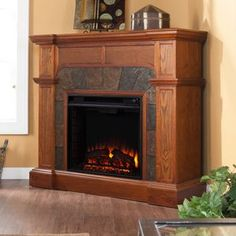 Boston Loft Furnishings�45.5-in W Mission Oak Wood and Wood Veneer Electric Fireplace with Thermostat and Remote Control Included
