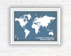 Wall decor large magnet board magnetic board dry erase board world map poster world map quote poster wall decor by redpostbox gumiabroncs Choice Image