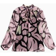 Max&Co. Silk blouse with pussybow collar ($200) ❤ liked on Polyvore featuring tops, blouses, rose pink pattern, ruched blouse, purple silk blouse, bow collar blouse, pink blouse and silk print blouse