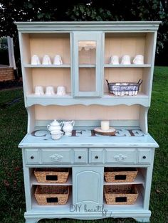 A drab and dreary buffet/hutch was given a fresh new life as a coffee bar! Full tutorial at DIY beautify