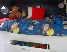 Detail of little boys bedroom for episode 3 of The Design Doctors Kids Bedroom, Bedroom Ideas, Modern Kids, Built In Storage, Episode 3, Little Boys, Comforters, Toddler Bed, Blanket