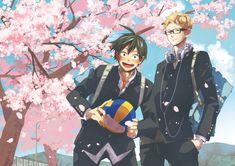 They're so cute Tsukishima X Yamaguchi, Haikyuu Tsukishima, Haikyuu Fanart, Haikyuu Ships, Haikyuu Anime, Haikyuu Volleyball, Volleyball Anime, Tsukiyama Haikyuu, Yamaguchi Tadashi