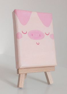 Pinky Pig - original mini painting, acrylic on canvas, easel included