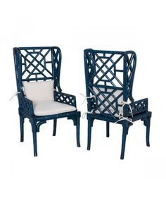 Bamboo Wingback Chair in Blue // * Free Shipping