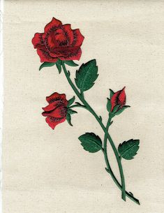 Large Red Rose//Flower on Vine//Stem-Right-Iron On Embroidered//Applique Patch