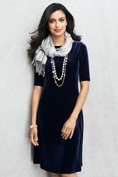 Love floating navy velvet at the holidays women s elbow sleeve velvet