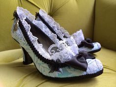 Alice In Wonderland Costume Alice in Wonderland Shoes High Heels Party Fantasy Pumps Baby Blue Black Bows and Snow White Lace Ruffle Marie Antoinette Rococo Baroque French Revolution Wedding bridal bride Shoes Size 6.5 7.5 8.5 9.5 10 on Etsy, $120.00