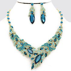 UnikLook Jewelry - Teal Blue crystal Necklace Earrings Set, $26.90 (http://uniklook.com/teal-blue-crystal-necklace-earrings-set/)