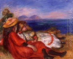 Two Little Girls On The Beach by Pierre Auguste Renoir
