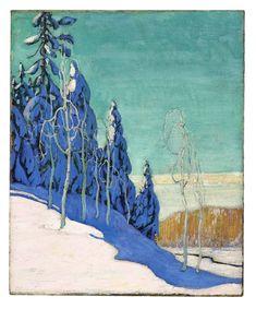 A Clear Winter: Arthur Lismer's crisply Canadian landscape, Canadian Group of Seven Tom Thomson, Group Of Seven Paintings, Group Of Seven Art, Winter Landscape, Landscape Art, Landscape Paintings, Canadian Painters, Canadian Artists, Clear Winter