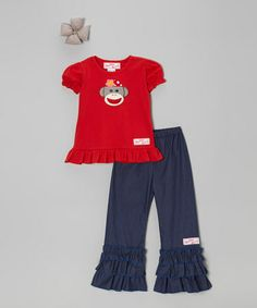 Look what I found on #zulily! Red Sock Monkey Tee Set - Infant, Toddler & Girls #zulilyfinds