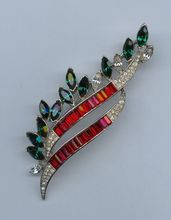 Dazzling Trifari Brooch in Holiday Colors-1950s