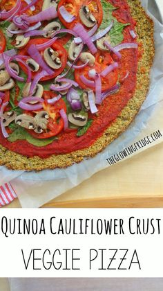 Quinoa Cauliflower Crust Pizza - Wheat-Free, Gluten-Free, Dairy-Free and Vegan! This delicious pizza is topped with a simple marinara sauce and loaded with veggies - a definite must try!!