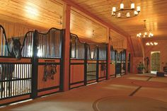 Wood interior with horse stalls by Classic Equine Equipment