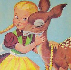 Vintage Deer  Girl.          Creepy