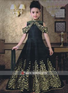 A Green designer Anarkali Gown made from Silk fabric. It features golden embroidery work and has fancy neckline along with cold shoulder sleeves for the best look. Kids Party Wear Dresses, Kids Flower Girl Dresses, Kids Dress Wear, Baby Girl Dress Patterns, Baby Dress Design, Kids Gown, Fancy Dress, Wedding Dresses Men Indian, Wedding Dresses For Kids