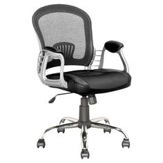 TARGET $144 Style your home desk with the modern styled LOF-208-O office chair from CorLiving. This product features a contoured mesh back support, tilting backrest, gas lift, padded black leatherette arms with chrome legs and rolling wheels. The comfortable, contemporary design will accent any large desk setting while offering the option to adjust to your body height and shape with ease. A great addition to any home!