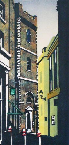St Mary-at- Hill, London by Mary Brooke, lino, via Spitalfields Life blog.