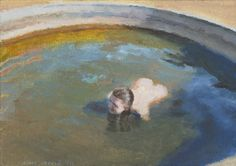 Clare Menck - Nude in Resevoir (Self-portrait) Nudes, South Africa, Paintings, Portrait, Water, Artist, Gripe Water, Paint, Headshot Photography