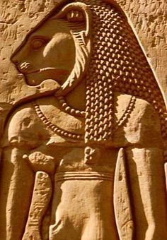 Sekhmet was the other form of Hathor, the goddess of destruction. She had a lion's head instead of a cow head. She was supposed to punish man but instead tried to kill them.