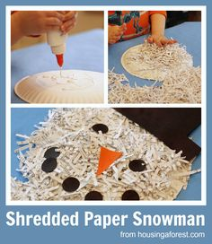 Shredded Paper Snowman ~ Housing A Forest. I have tons of shredded paper that needs a home. Preschool Christmas, Christmas Activities, Craft Activities, Preschool Winter, Winter Activities, Winter Fun, Winter Theme, Winter Christmas, Holiday Crafts