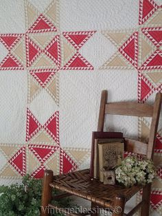 Sensational! FINE Feathered Stars Incredible Quilting Antique 19th century QUILT