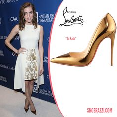 Allison Williams in Christian Louboutin Mirrored Bronze Leather So Kate Pumps - ShoeRazzi