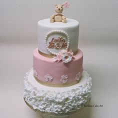 Vintage Floral Style Christening Cake