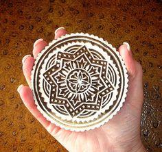 Round Hand Carved Wood Stamp, Large Indian Printing Block, Flower Design, by DelhiDaze, $18.00