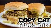 Maid Rite sandwiches, also known as 'tavern sandwiches,' consist of loose ground beef and a mixture of sweet onions and tangy yellow mustard. Dog Recipes, Sandwich Recipes, Copycat Recipes, Crockpot Recipes, Cooking Recipes, Zip Burger Recipe, Hamburger Recipes, Made Right Sandwich Recipe, Recipes