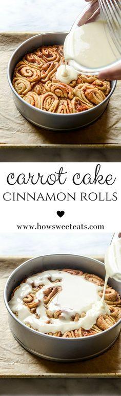 Carrot Cake Cinnamon Rolls I howsweeteats.com @howsweeteats