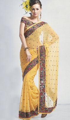 Parsi Gara embroidery border Saree