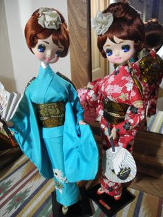 2 TALL Vintage Big Eye Bradley Geisha Dolls, Japanese Kimono Fans; Shirokiya 17""