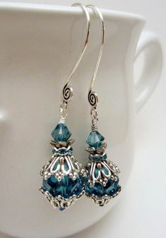 Juliet's Love Handmade earrings cerulean blue by simplycharming217, $15.50