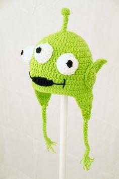 Toy Alien Earflap Hat Disney Pixar Toy Story, Green Crochet Beanie