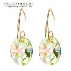 Neoglory chapado en oro de big largo bohemio cuelga los pendientes de gota de cristal austriaco para las mujeres joyería de moda indio 2017 amor js9