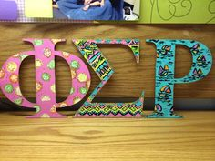 Phi sigma rho painted wooden letters