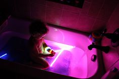 Glow Sticks in the bath!