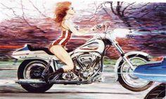 Denis SIRE POUPEES DE SIRE HORIZONTALES Art Harley Davidson, Harley Davidson Tattoos, Harley Davidson Motorcycles, Bd Cool, Biker Girl, Pin Up Art, Art Studies, Art Google, Motorbikes