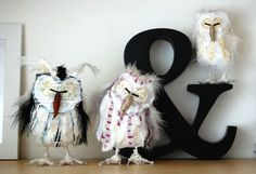Owl family  set of three handmade standing owl by sweetmabelshop,