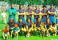 F. C. BARCELONA.- Barcelona, España.- Temporada 1978-79.- Artola, Albadalejo, Olmo, Neeskens, Félix y Migueli; Rexach, Krankl, Heredia, Asensi y Esteban. F. C. ANDORRA 0 F. C. BARCELONA 2 (Hansi Krankl, Carrasco).- 30/07/1978.- Partido amistoso - Andorra la Vieja, Principado de Andorra, Estadio Comunal d'Aixovall