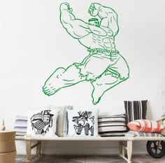 "superhero wall decor for boys bedroom Children dorm 26"" The hulk vinyl wall tattoo art decal free shipping"