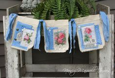 ROSES and DENIM Fabric Garden Flag Garland OOAK with mop buttons, shabby fabrics and collage images