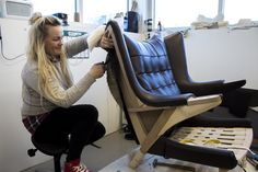 A PAPA BEAR CHAIR BEING LOVINGLY UPHOLSTERED