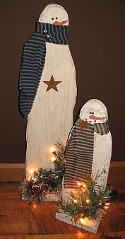 Image Detail for - Primitive Wooden Snowman Small