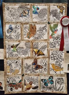 "2017 Folsom Quilt and Fiber Guild Show-""Nature Sketches"", Linda Sliepen. Linda combined free motion quilting with embroidered design. Butterfly Quilt, Bird Quilt, Embroidered Quilts, Applique Quilts, Patchwork Quilt Patterns, Embroidered Bird, Small Quilts, Mini Quilts, Quilting Projects"