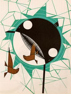 Orca from The Animal Kingdom, illustrated by Charley Harper